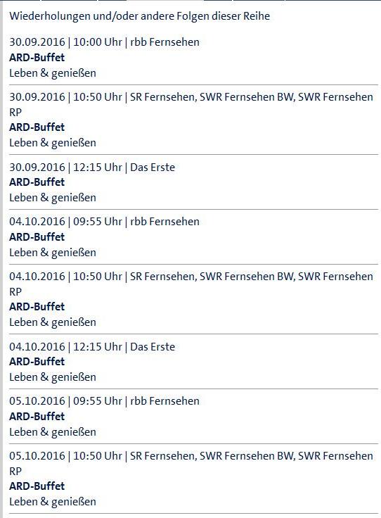 ARD-Sendetermine