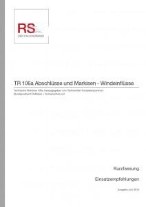 Technische Richtlinie 106a – Abschlüsse und Markisen – Windeinflüsse