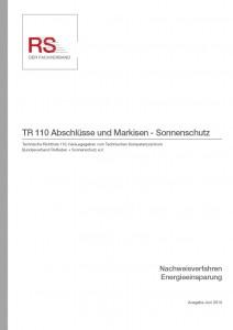 Technische Richtlinie 110 – Abschlüsse und Markisen – Sonnenschutz