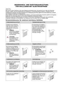 Bedienungsanleitung Rollläden Elektroantrieb ohne CE