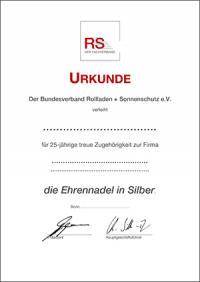 Urkunde 25 Jahre - silber
