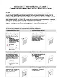 Bedienungsanleitung Rollläden Handbedienung ohne CE